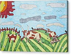 Family On Green Pastures Acrylic Print by Stephanie Ward