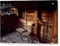 Firewood And A Chair On The Porch Acrylic Print by Joel Sartore