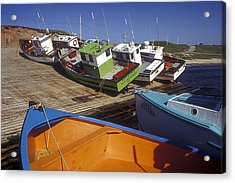 Fishing Boats - Magdalen Islands Acrylic Print by Carol Barrington