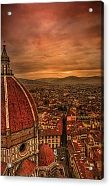 Florence Duomo At Sunset Acrylic Print by McDonald P. Mirabile