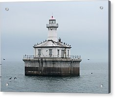 Fourteen Foot Shoal Light  Acrylic Print by Keith Stokes