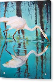 Acrylic Print featuring the painting Fowl Fishing by AnnE Dentler