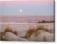 Full Moon Over Folly Beach Acrylic Print by Vanessa Kauffmann