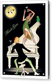 Girl Dancing On Piano Acrylic Print by Anne Beverley-Stamps