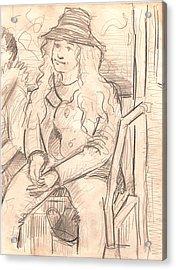 Girl On A Train Acrylic Print by Al Goldfarb
