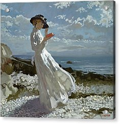 Grace Reading At Howth Bay Acrylic Print by Sir William Orpen