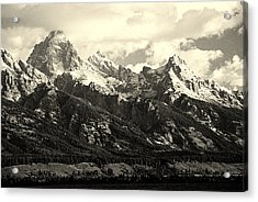 Grand Teton Range In Vintage Light Acrylic Print by The Forests Edge Photography - Diane Sandoval