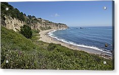 Greyhound Rock Beach Panorama - Santa Cruz - California Acrylic Print by Brendan Reals