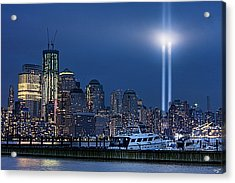 Ground Zero Tribute Lights And The Freedom Tower Acrylic Print by Chris Lord
