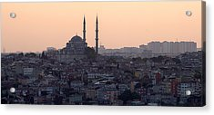Istanbul Cityscape At Sunset Acrylic Print by Terje Langeland