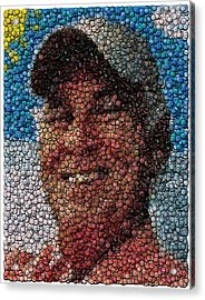 Jimmy Buffet Bottle Cap Mosaic Acrylic Print by Paul Van Scott
