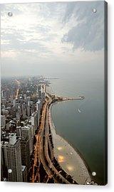Lake Michigan And Chicago Skyline. Acrylic Print by Ixefra