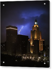 Lightening Over Providence Acrylic Print by Vicki Jauron