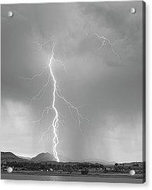 Lightning Strike Colorado Rocky Mountain Foothills Bw Acrylic Print by James BO  Insogna