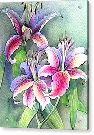Lilies Acrylic Print by Khromykh Natalia