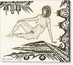 Live Nude 4 Female Acrylic Print by Robert SORENSEN