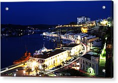 Acrylic Print featuring the photograph Mahon Harbour At Night by Pedro Cardona
