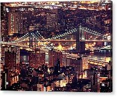 Manhattan And Brooklyn Bridges Acrylic Print by Rob Kroenert