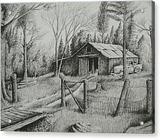 Ma's Barn And Truck Acrylic Print by Chris Shepherd