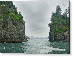 Monoliths In Aialik Cape On A Foggy Acrylic Print by James Forte