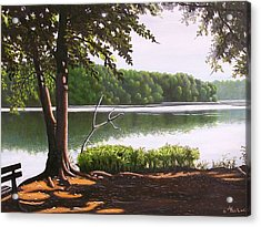 Morning At City Lake Park Acrylic Print by Larry Hoskins