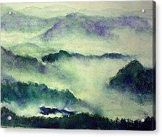Acrylic Print featuring the painting Mountain Oriental Style by Yoshiko Mishina