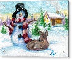 Mr. Snowman Aceo Acrylic Print
