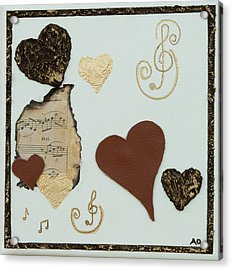 Musical Love - Tan Hearts Acrylic Print by Alison Quine