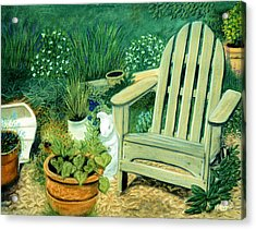 My Garden Chair Acrylic Print by Jan Amiss