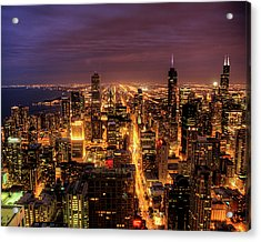 Night Cityscape Of Chicago Acrylic Print by Jacob D. Moore