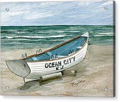 Ocean City Lifeguard Boat Acrylic Print by Nancy Patterson