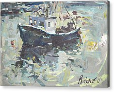 Acrylic Print featuring the painting Original Lobster Boat Painting by Robert Joyner