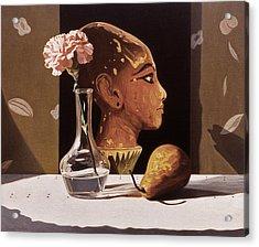 Pink Carnation And Egyptian Head Acrylic Print by Daniel Montoya
