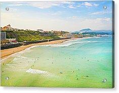 Plage De La Cote Des Basques, Biarritz, Aquitaine, Acrylic Print by John Harper