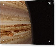 Planet Jupiter And A Distant Moon Acrylic Print by Jason Reed