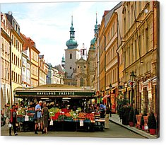 Prague Market Acrylic Print by Randy Matthews