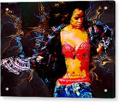 Rihanna Abstract By Gbs Acrylic Print by Anibal Diaz