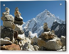 Rock Piles In The Himalayas Acrylic Print by Shanna Baker