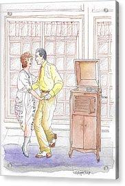 Rudolph Valentino Teaching The Tango To Actress Alice Terry, 1921 Acrylic Print
