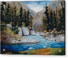 Acrylic Print featuring the painting Rushing Waters by Brenda Thour
