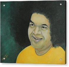 Sai Baba In Memoriam Acrylic Print by Desiree Micaela