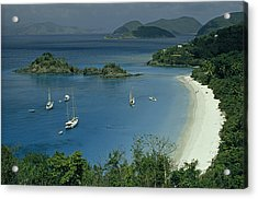 Sailing Yachts Anchor Off Of A Pristine Acrylic Print by James L. Stanfield