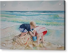 Saving The Sand Castle From The Tide Acrylic Print by Tom Harris