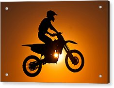 Silhouette Of Motocross At Sunset Acrylic Print by Shahbaz Hussain's Photos
