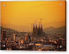 Silhouettes In Barcelona Acrylic Print by Paul Biris