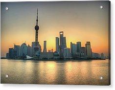 Skyline At Sunrise Acrylic Print by Photo by Dan Goldberger