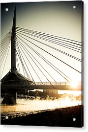 St. Boniface Bridge At Winter Sunrise Acrylic Print