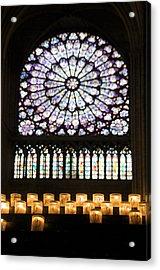 Stained Glass Window Of Notre Dame De Paris. France Acrylic Print by Bernard Jaubert