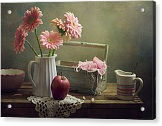 Still Life With Pink Gerberas And Red Apple Acrylic Print by Copyright Anna Nemoy(Xaomena)
