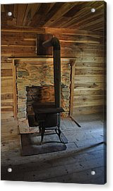 Stove In A Cabin Acrylic Print by Jeff Moose